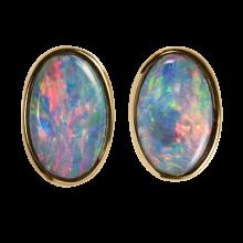 Elegante Opalohrstecker mit ovalen Edelopalen, 750er Gold