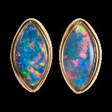 Zierliche Opalohrstecker mit bezaubernden Edelopalen im Navette Schliff, 750er Gold