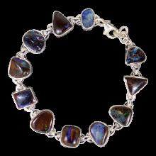Harmonische Armkette mit Boulder Opalen, 925er Silber