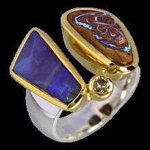 Außergewöhnlicher Kombi Ring mit Boulder Opalen und Diamant, 925er Silber, vergoldet, Ring Größe 58
