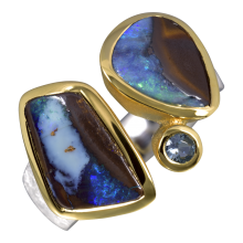 Attraktiver Kombi Ring mit Boulder Opalen und Aquamarin, 925er Silber, vergoldet, Ring Größe 56
