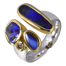 Malerischer Kombi Ring mit Boulder Opalen und Diamant, 925er Silber, vergoldet, Ring Größe 57