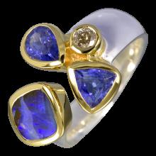 Himmlischer Ring mit Boulder Opal, Tansanit und Diamant, 925er Silber, teilvergoldet, Ringgröße 56