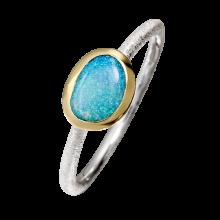 Filigraner Ring mit stilvollem Edelopal in türkis, 925er Silber, teilvergoldet, Ringgröße 56