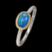 Filigraner Ring mit exquisitem Edelopal in türkis, 925er Silber, teilvergoldet, Ringgröße 57