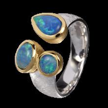 Begeisternder Ring mit entzückenden Edelopalen, 925er Silber, teilvergoldet, Ringgröße 55