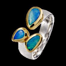 Schwungvoller Ring mit entzückenden Edelopalen, 925er Silber, teilvergoldet, Ringgröße 54
