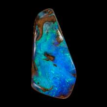 Gebohrter Boulder Opal in tief opaleszierendem Türkis und Blau