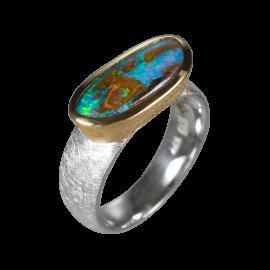 Ring mit länglichem Bouldropal, 925er Silber, Ringgröße 58