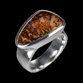 Ring mit dreieckigem Boulderopal, braun, rainbow, 925er Silber poliert, Ringgröße 54