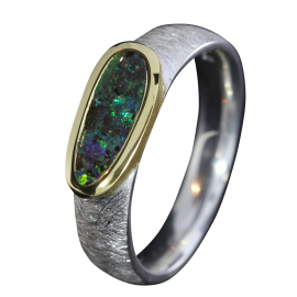 Edelopal Ring Dunkelgrün, Silber, Goldbeloetet, Ringgrösse 55