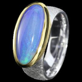 Silberring mit großem Edelopal, 925er Silber, Ringgröße 57, vergoldet