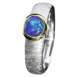Opalring mit zauberhaftem Edelopal Kobaltblau, 925er Silber, Ringgröße 52, vergoldet