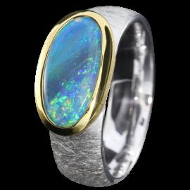 Silberring mit türkisfarbenem Edelopal, 925er Silber, Ringgröße 55, vergoldet