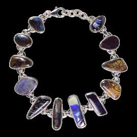 Faszinierende Armkette mit Boulder Opalen, 925er Silber