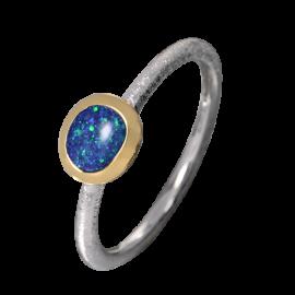 Edelopal Ring türkis, Silber, 925er Silber, teilvergoldet, Ringgrösse 53
