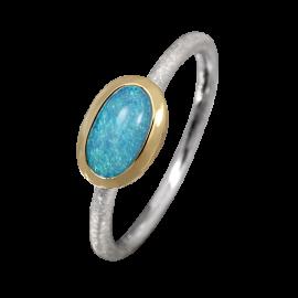 Edelopal Ring türkis, Silber, 925er Silber, teilvergoldet, Ringgrösse 54