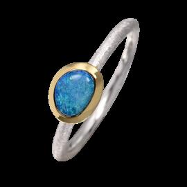 Edelopal Ring türkis, Silber, 925er Silber, teilvergoldet, Ringgrösse 51