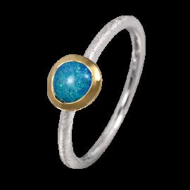 Edelopal Ring türkis, Silber, 925er Silber, teilvergoldet, Ringgrösse 55