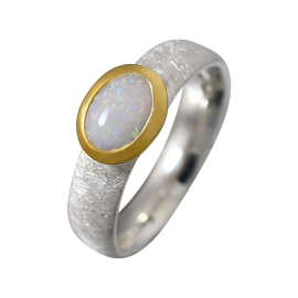 Luxuriöser Ring mit ovalem Edelopal, 925er Silber, teilvergoldet, Ringgröße 57