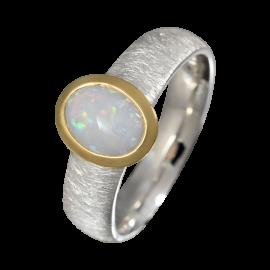 Verlockender Ring mit ovalem Edelopal, 925er Silber, teilvergoldet, Ringgröße 54