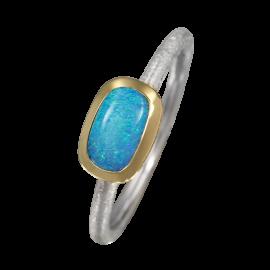 Edelopal Ring türkis, Silber, 925er Silber, teilvergoldet, Ringgrösse 52