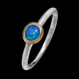 Edelopal Ring türkis, Silber, 925er Silber, teilvergoldet, Ringgrösse 57