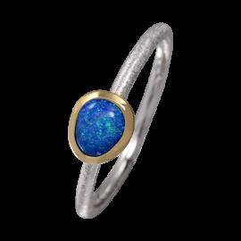 Edelopal Ring türkis, Silber, 925er Silber, teilvergoldet, Ringgrösse 58