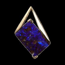 Anhänger mit viereckigem Boulder Opal in Kobaltblau, 750er Gold